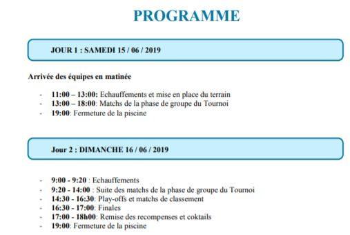 Tournoi de hockey subaquatique 15 et 16 juin 2019 – Centre nautique Château Bleu – Annemasse